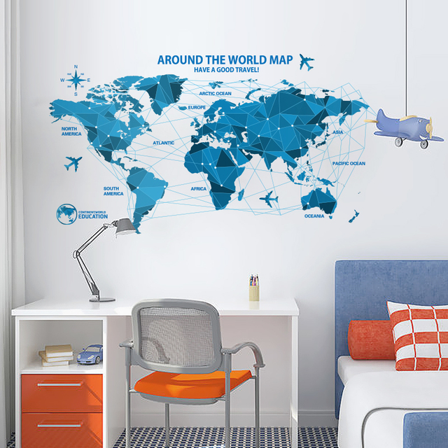 Modern world map poster blue color paper plane compass globe wall modern world map poster blue color paper plane compass globe wall stickers vinyl art kids room gumiabroncs Gallery