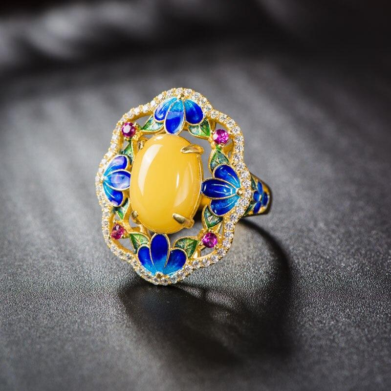 S925 bague en argent Sterling en gros Cloisonn bleu violet naturel cire d'abeille gemmes fleur faire miel femmes anneau ouvert