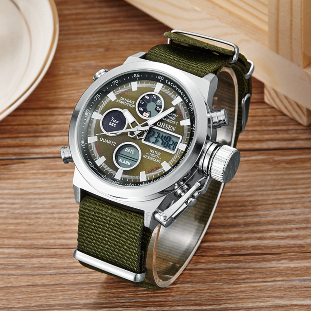 Fashion Design OHSEN Male Man Sports Watch 3ATM Waterproof LCD Digital Dual Time Hours Wristwatch Army Green Quartz Mens Relogio top brand ohsen fashion dual time led clock sports waterproof male watch digital anolog mens army wristwatch quartz montre homme