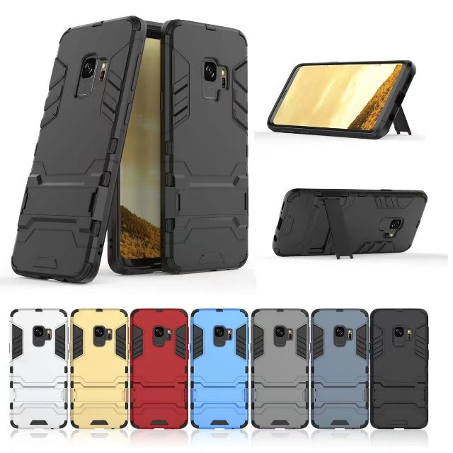 best website 1efa4 ce7d3 US $2.83 5% OFF With stand Hybrid case For Samsung Galaxy S9 S9Plus Hard  Silicone + PC Armor protective back cover for samsung s9 plus shell-in  Fitted ...