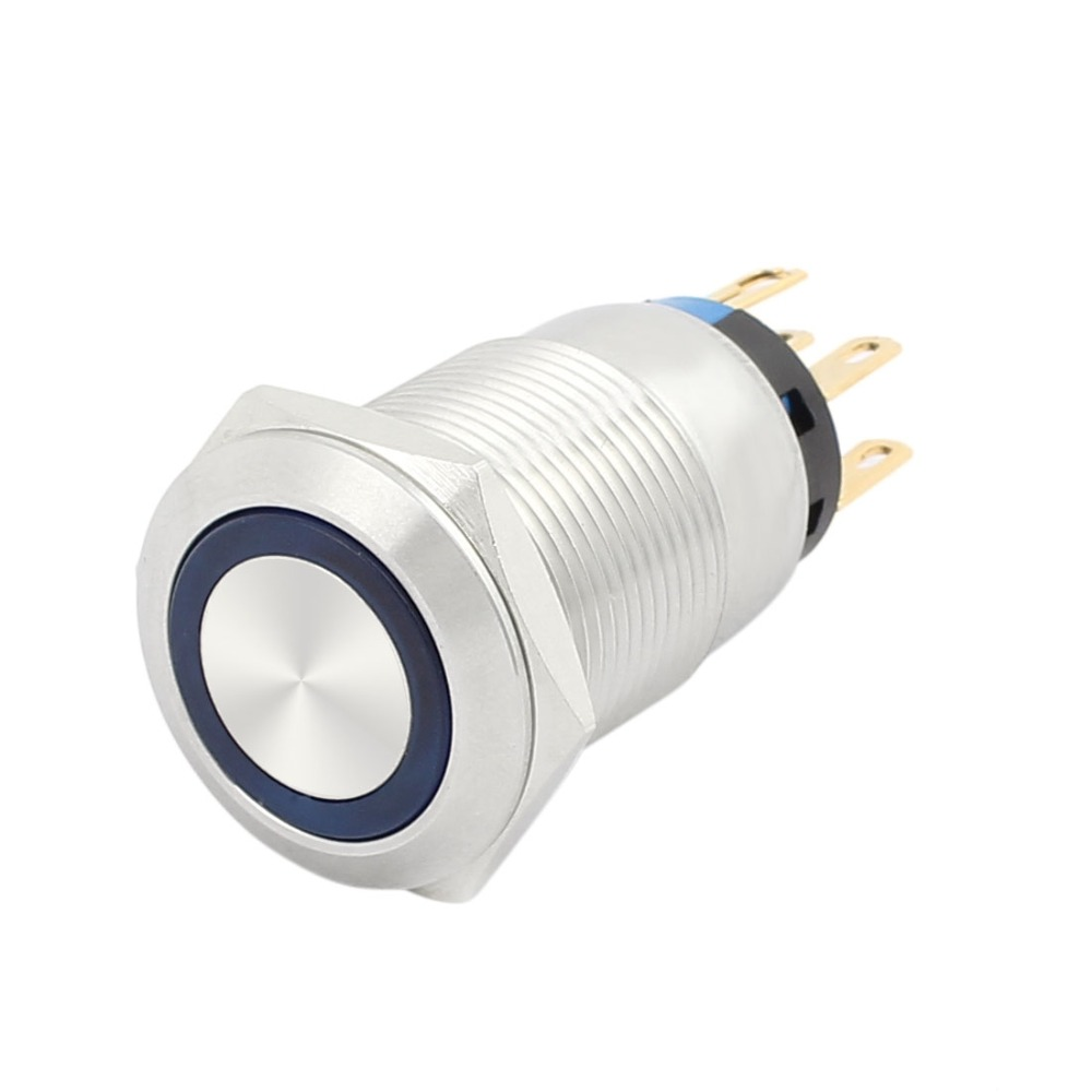 UL 19mm 0.75 Mounting Thread Waterproof Press Switch Flat Round 2NO 2NC DPDT Latching Stainless Steel Metal Push Button Switch large illumination area ul panel light 4 x1 1200x300mm hanging recessed wall surface mounting no gare soft flat light