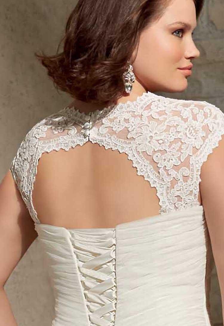 A line lace up wedding dress