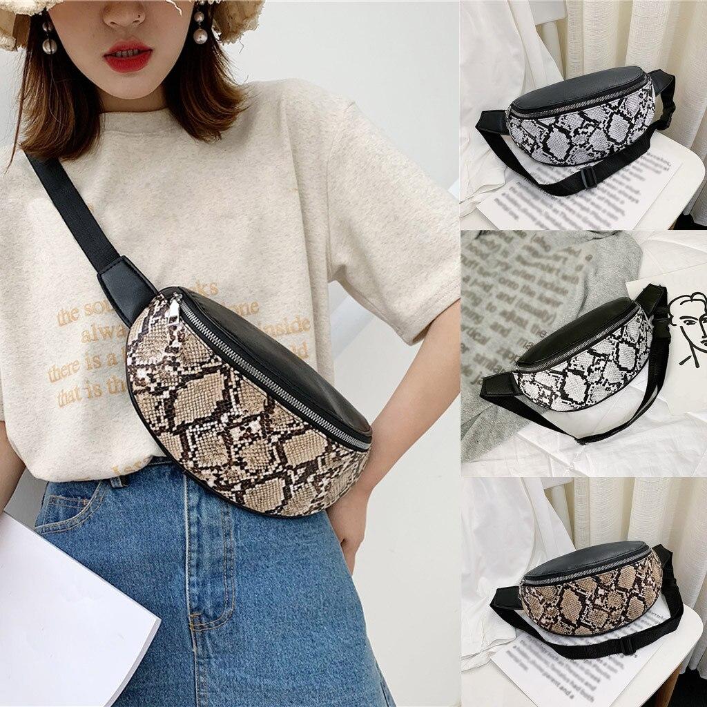 Women Waist Bags Fashion Outdoor Serpentine Zipper Messenger Sports Chest Bag Belt For Girls Sac Ceinture Femme Bolso Cintura