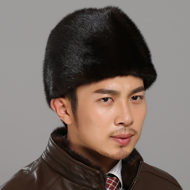 Winter real fur hat Men mink fur hat Men's Mink Fur Trapper Cap Genuine Sheepskin Leather Hunting Hat Ushanka fashion and warm foreign trade explosion models in europe and america in winter knit hat fashion warm mink mink hat lady ear cap dhy 36
