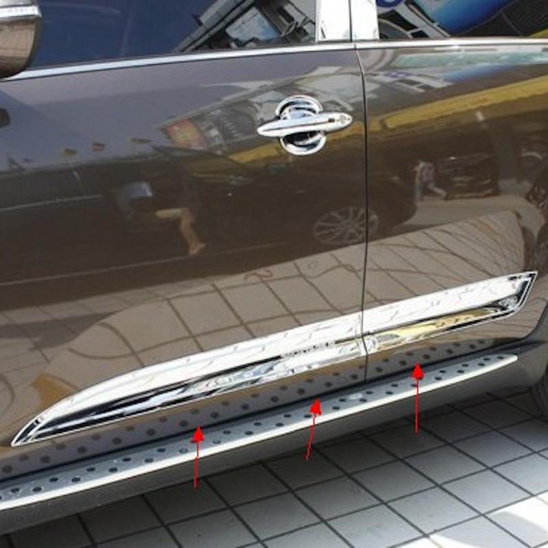 For Kia Sportage R Car Body Side Door Body trim sticks Strips Molding 2011 2012 2013 2014 2015 4pcs car styling Accessories