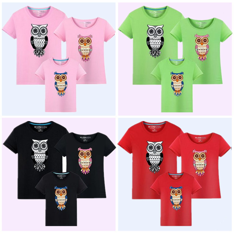1Piece Family Matching Clothes 2017 Summer New Cartoon Owl Print - Children's Clothing - Photo 4