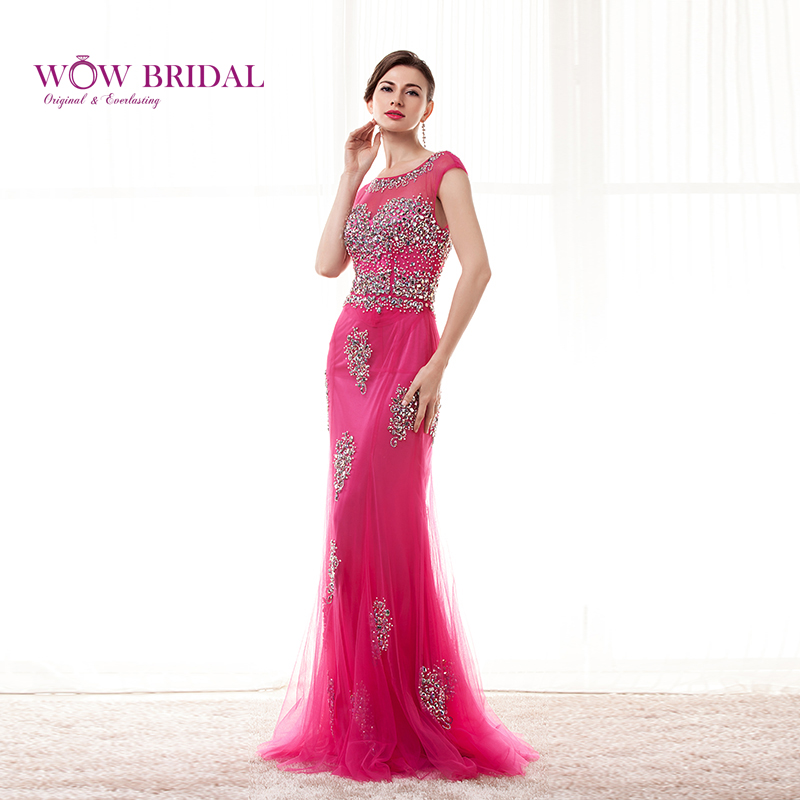 Weddings & Events Wowbrial Graceful Opera Pink Long Evening Dress 2015 Scoop Crystal Neck Pattern Beaded Chiffon Mermaid Ruffles Women Formal Gown
