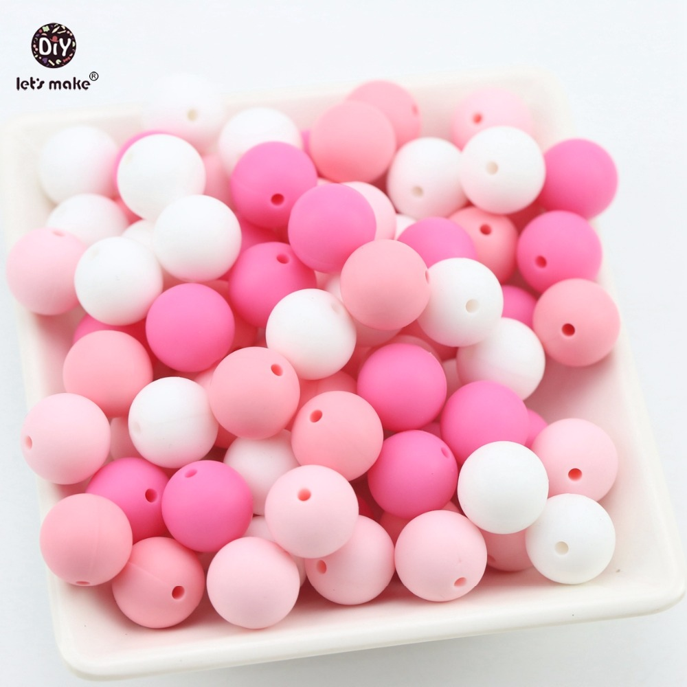 Lets Make Silicone Beads Can Chew 100pc Pink Series Teething Accessories DIY Nursing Necklace Bracelet Beads Baby Teether