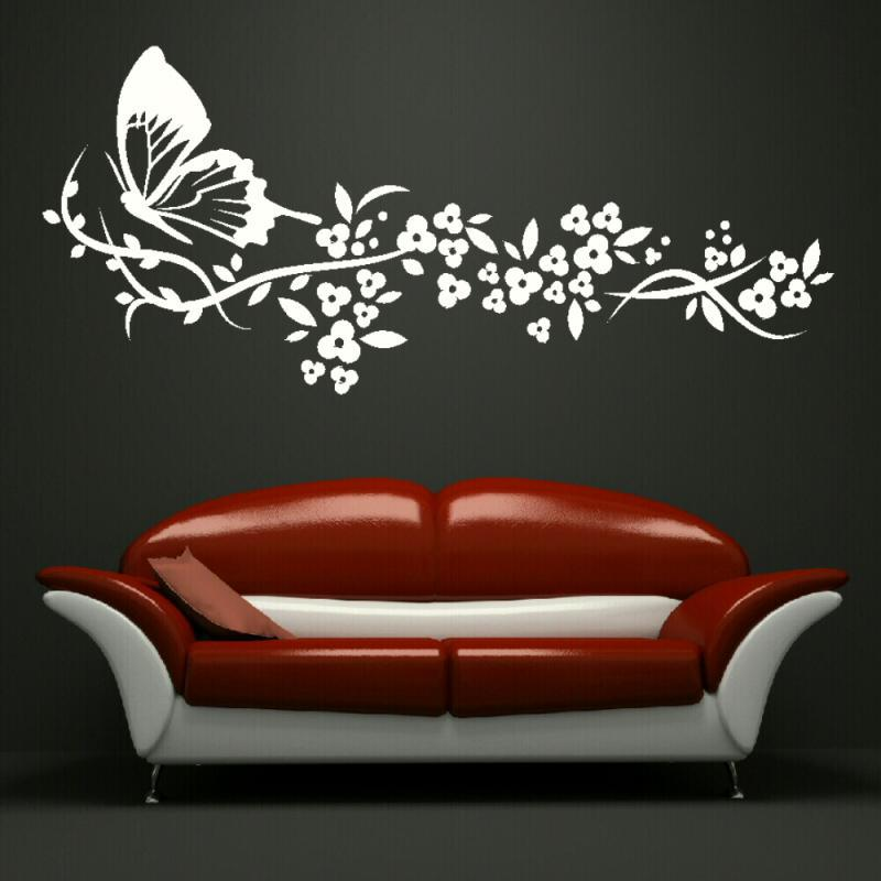 Butterfly flowers big wall art sticker stencil bedroom - Wall painting stencils for living room ...