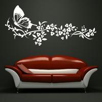 Papillon Fleurs Grand Mur Art Autocollant Amovible Vinyl Sticker Transfert Stickers pour Salon Décoration Drop Shipping