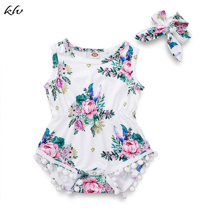 2pcs/Set Children Suit Peony Print Pattern Plush Ball Onesies Clothes Hair Band Kids Girls Floral Suits Seaside Style Vacation