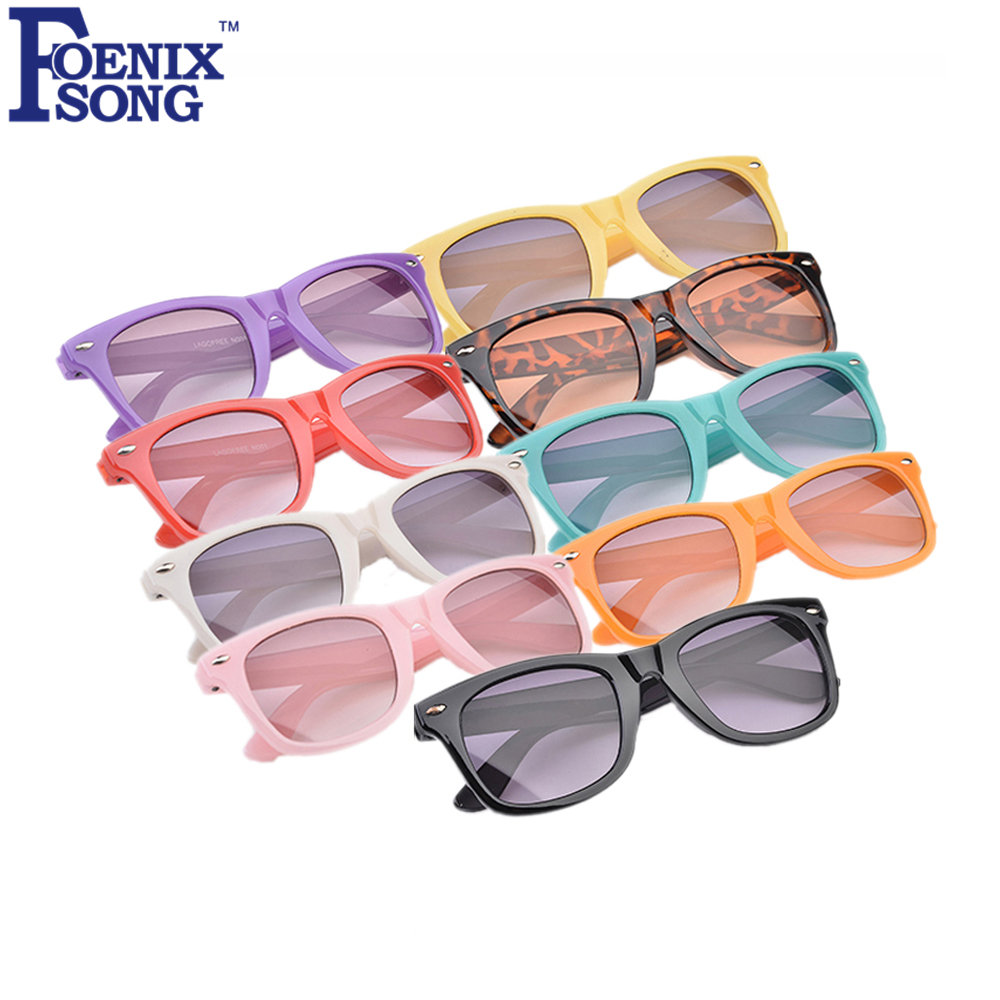FOENIXSONG Brand New Kids Sunglasses Gafas Oculos De Sol Multi Frames Retro Children Sun Glasses Black Pink Eyewear Sun Glasses