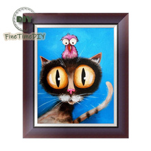 FineTime 5D Cartoon Cat DIY Animals Diamond Painting Partial Round Drill Diamond Embroidery Mosaic Cross Stitch finetime 5d christmas cat diy animals diamond painting partial round drill diamond embroidery mosaic cross stitch