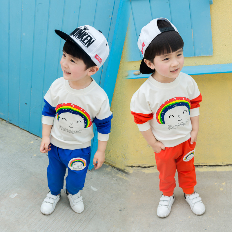 New Arrival Children Autumn Clothing Set Baby Girl Clothes Tracksuit Long-sleeve Rainbow T-shirt+causal Pant 2pcs Sport Suit 2017 summer new children baby girl clothing denim set outfits short sleeve t shirt overalls skirt 2pcs set clothes baby girls
