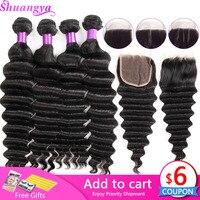 Loose Deep Wave Bundles With Closure 100% Remy Human Hair 3/4 Bundles With Closure Malaysian Hair Weave Bundles With Closure