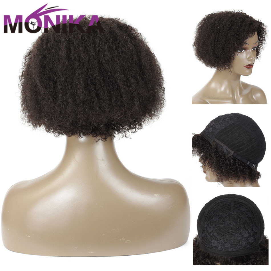 Monika 8 Inch Mongolian Curly Human Hair Wigs 130% Density Short Wig For Black Women Non Remy Hair Natural Machine Made Wigs