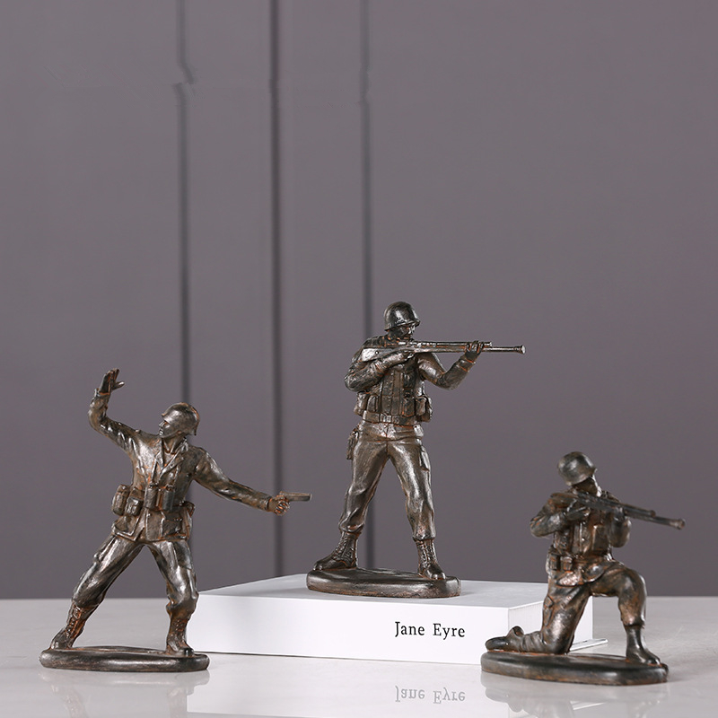 Creativity American Soldier Resin Statue Modern Style Desktop  Furnishings Sculpture Home Decoration Accessories Crafts 143