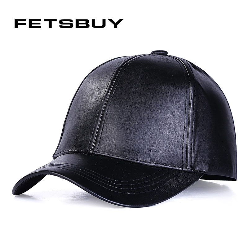 black leather baseball cap wholesale new font with fur pom faux