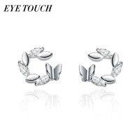 EYE TOUCH S925 Sterling Silver Jewelry Stud Earrings Women Earring Butterfly Fashion Trendy Office Work Elegant