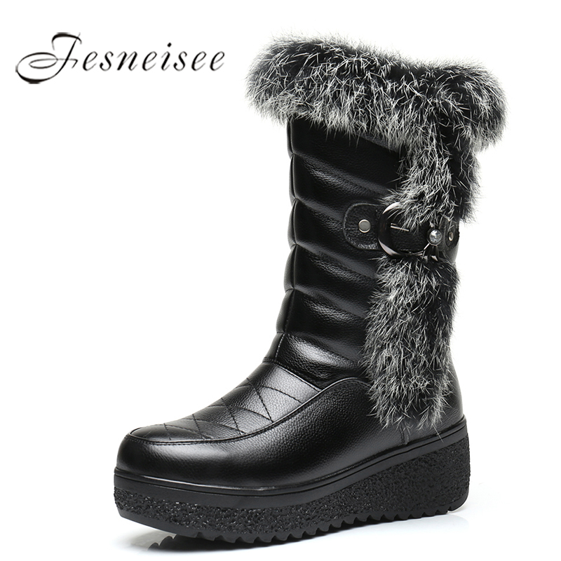 2017 New Winter Mid Calf Boots Women Genuine Leather Boots Wedges Round Toe Rabbit hair Boots High Quality Shoes Size 34-41 M4 big size 34 43 advanced nubuck leather mid calf fashion round toe wedges boots for women 5 color new women boots