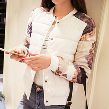 2016 women fashion new arrival regular length patchwork single breasted full regular sleeve thin down coat with buttons