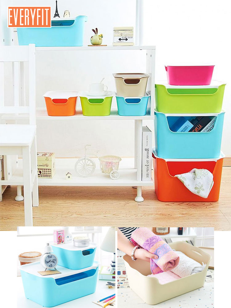 Toy storage box U-shaped open Storage Box, For plastic with lid snack storage, household clothes, toy and boo image