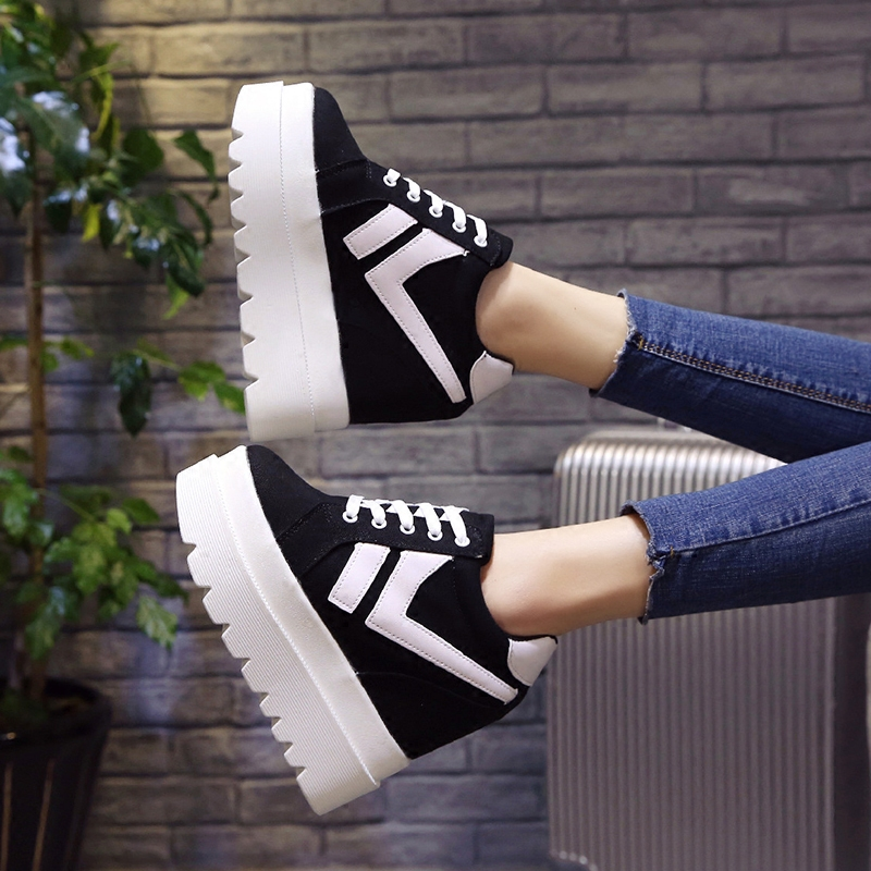Nice New Korean Fashion Wild Super High Heels Shoes Breathable Comfort Thick Bottom Casual Shoes Women Single Shoes 2