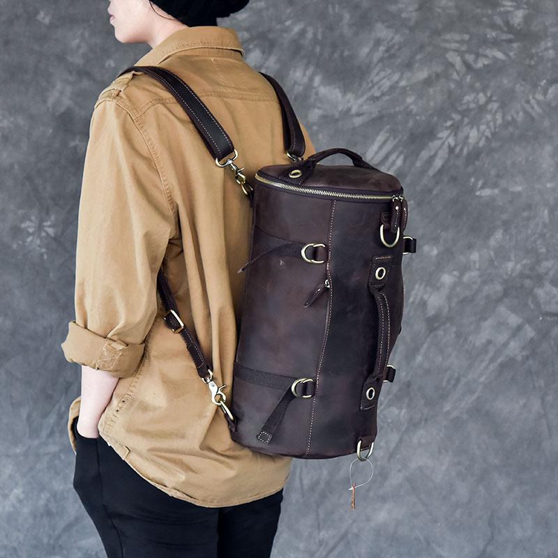 Multi-functional Men handbag genuine leather shoulder crossbody bag crazy horse leather male small travel back pack bucket bags
