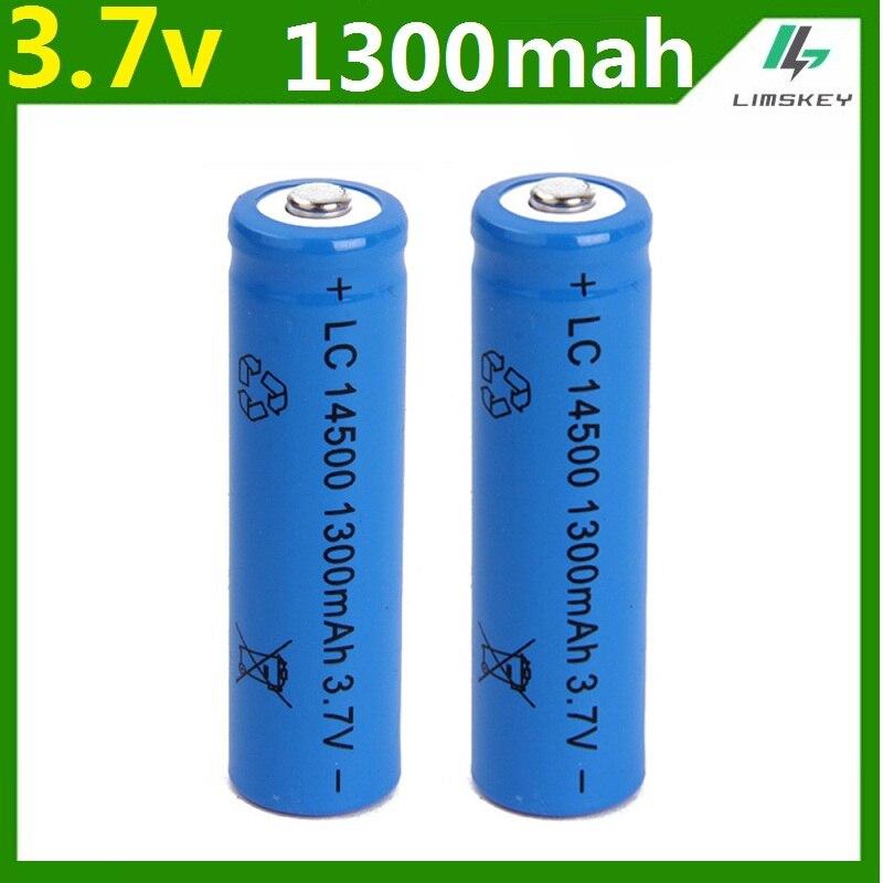 1 Pcs/set High Capacitance 14500 Battery 3.7V 1300mAh Rechargeable Li-ion Battery For Led Flashlight Batery Litio Battery Newest