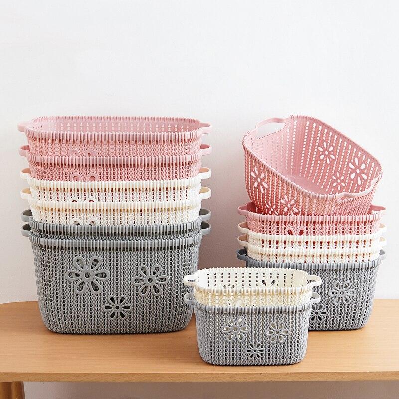 Kitchen Bathroom Desktop Imitation Rattan Storage Basket Plastic Storage Baskets Bathroom Cosmetic Make ups Storage Basket