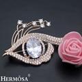 Diseño de La Forma brillante Ojo Brillante Partido Mostrar Joyería AAA Blanco CZ Oro Rosa Broche de Novia de La Boda Broches Charms Señora regalo