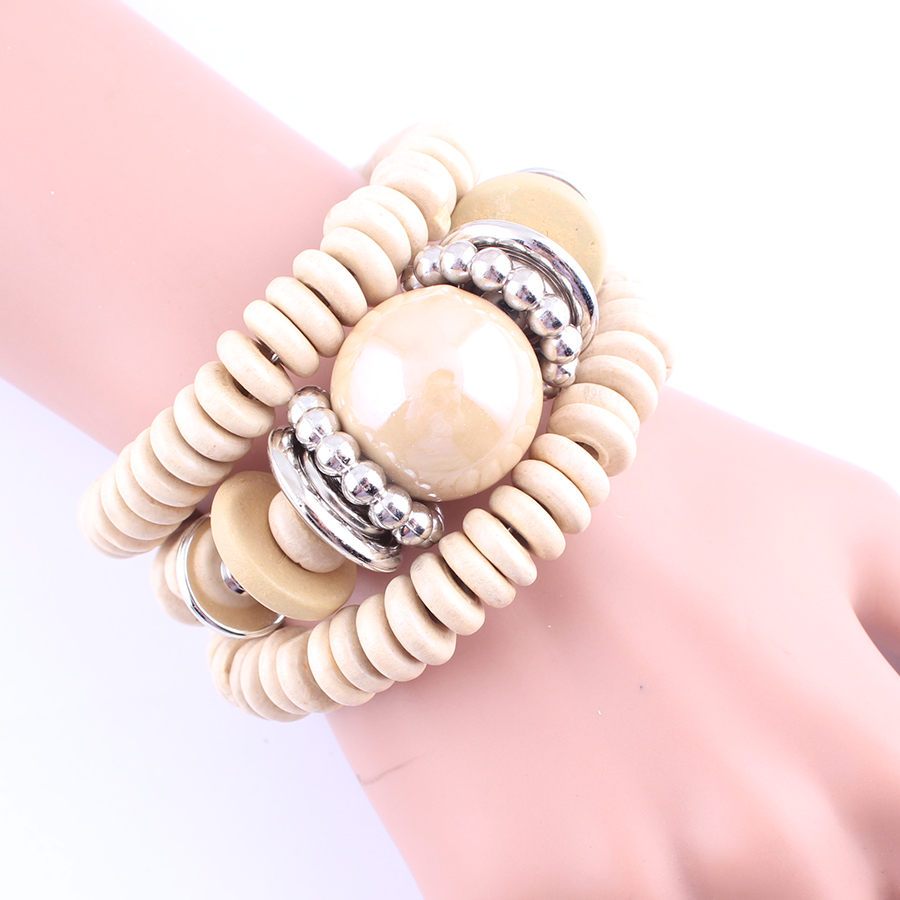 LUBINGSHINE Fashion Multilayer Wood Beads Bracelet Jewelry For Women Adjustable Alloy Chain Bangles For Girls Gifts pulsera B595