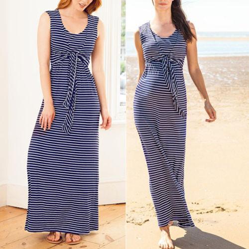 fba4b862352369 HOT Baby Maternity Clothes Breastfeeding Nursing Pregnant Blue Striped  Sleeveless Women Long Maxi Dress S-2XL