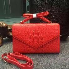 100% Real/Genuine Crocodile Skin Womens Shell shoulder messenger Handbag, luxury alligator skin lady shoudler bag Green Red