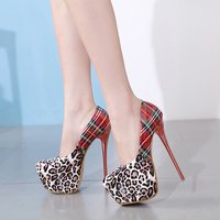 2019 new leopard print, high heel shoes, 16CM high heeled shoes, sexy lacquer skin, women's casual shoes, banquet shoes.