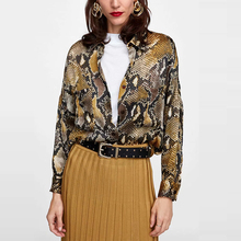 Summer sexy Snake print women's blouse casual button pocket women's clothes shirt 2018 korean fashion Women's chiffon blouse