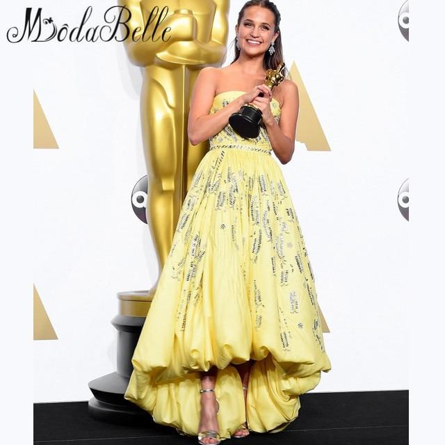 Высокий низкий атласная знаменитости платье красного ковра 88th оскар 2016 алисия Vikander милый желтый короткие передние длиннее заднее платье выпускного вечера