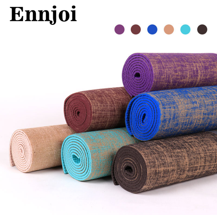 NEW 6 Colors 183*61cm 6mm Thickness Tasteless Non-slip Linen Yoga Mat Lose Weight Body Building Exercise Pilates Pad yoga pilates mat pu 5mm for beginners and seniors super non slip widened workout yoga pilates gym exercise fitness gym mat