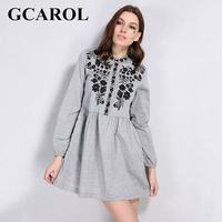 GCAROL 2018 Early Spring New Black Floral Embroidered Women Dress Stand Collar Vintage Dress Mid Waist