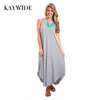 Kaywide Fashion 2016 Black White Striped Spaghetti Strap Sexy Dress Irregular Summer Maxi Dress Sleeveless Sexy