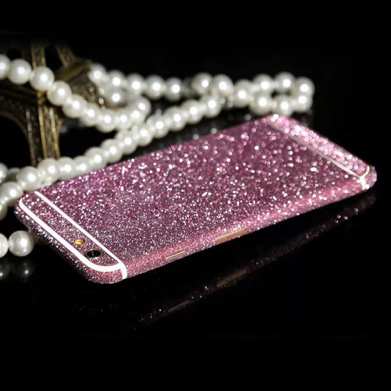 Bling Diamond Full Body Shining Rose Decal Glitter Film Sticker Cover Protective Case For iPhone 4 4S 5 5C 5S 6 6S /6 6S Plus
