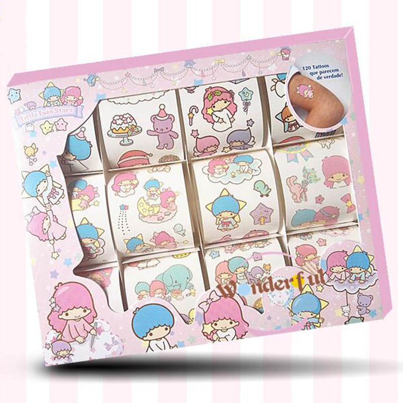 Little Twin Star Sticker for Tatoo Twin Star Body Sticker for Kids 1 Set 120 Patterns