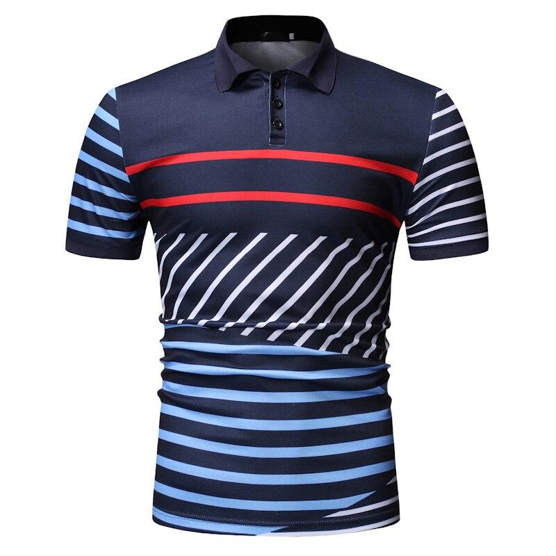MOGU 2019 New Summer Men   Polo   Shirts Fashionable Short Sleeve Striped   Polos   High Quality Turn-down Collar Hawaiian   Polo   Shirts