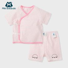 Mini Balabala Baby Boy Girl 2-Piece clothes set 100% Cotton Stripe Short-sleeved T-Shirt + Pants Set Infant Newborn Baby Outfit(China)