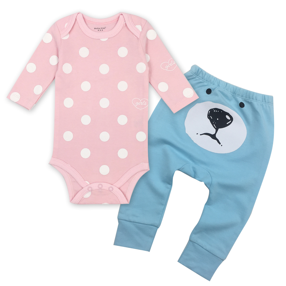 Baby girl Clothes O-neck Long Sleeved Bodysuits and Baby pants suit 100% Cotton Child Garment Toddler Underwear Infant Clothes
