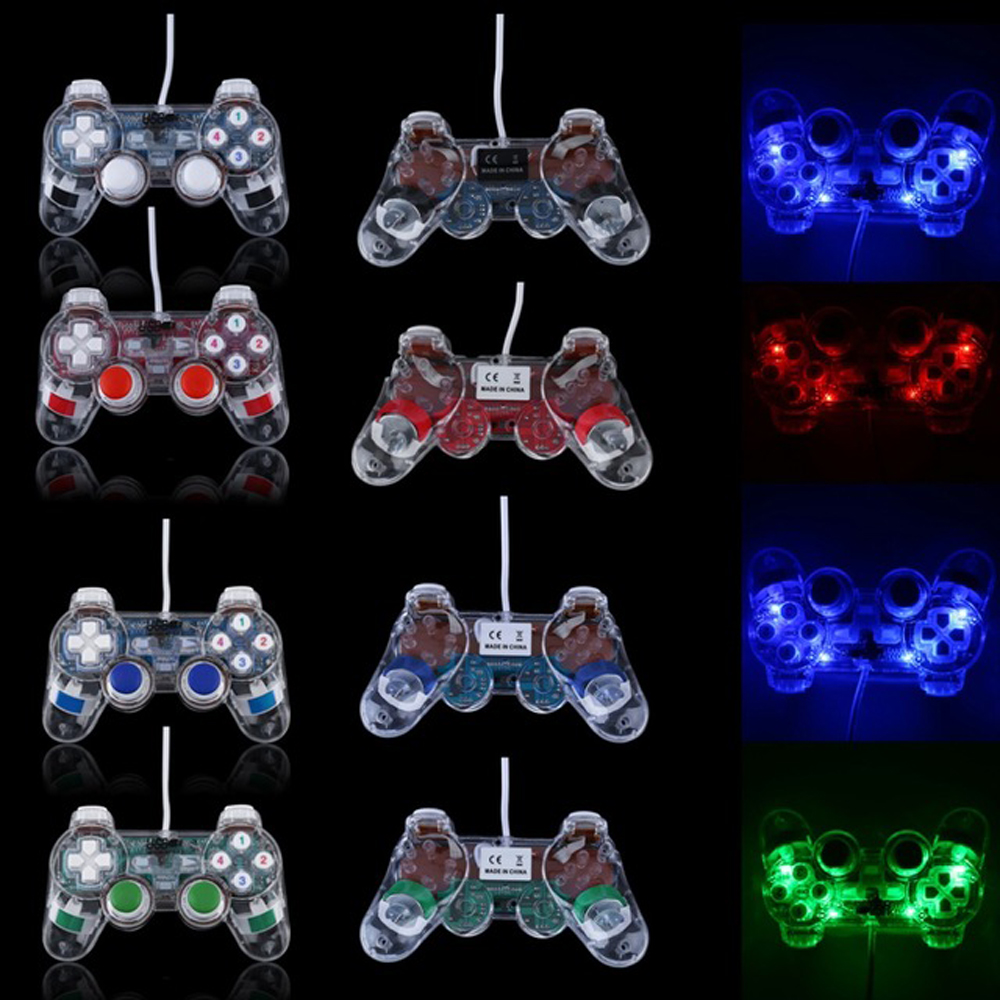 xunbeifang 8pcs Double Shock Joypad Transparent USB2 0 PC Vibration Controller font b GamePad b font