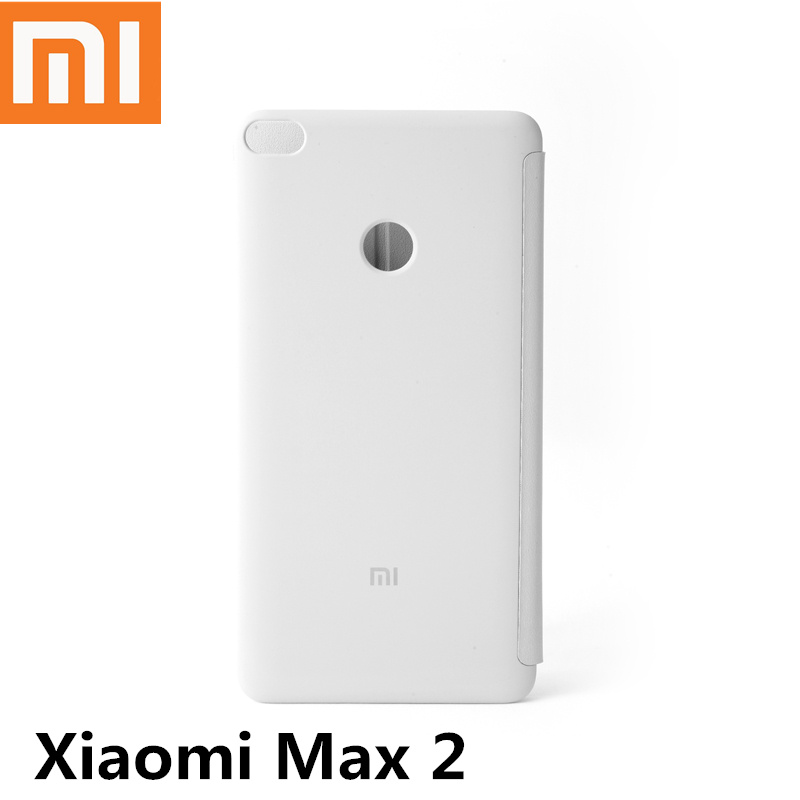 Original Xiaomi Max2 Leather Flip Case Smart wake up White Business Back Cover Bag Cases For