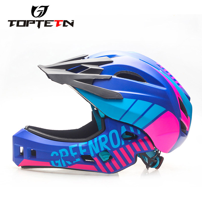Bike Full Face Helmet Children Safety Riding Skateboard Helmet Inline Skating Sports Protective Equipment with Detachable Chin