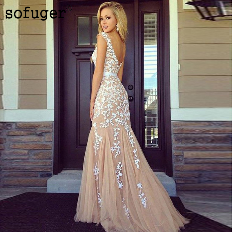 Champion Sofuge Long Evening Dresses Ivory Lace Appliques Backless Tulle Arabic Muslim Special Occasion Formal Women Dress