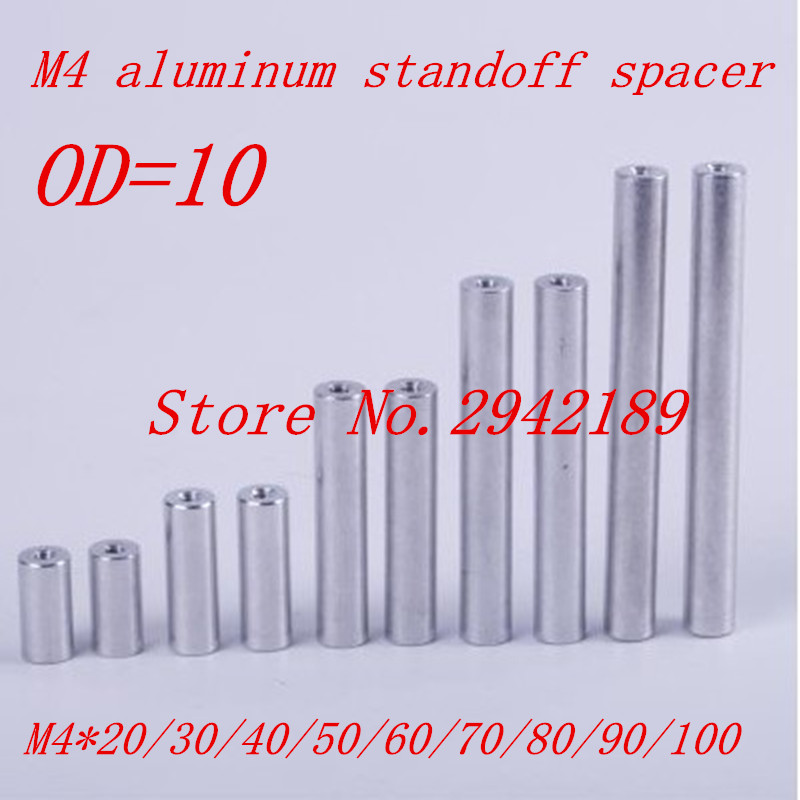 10pcs/lot M4*20/30/40/50/60/70/80/90/100 aluminum round spacer standoff image